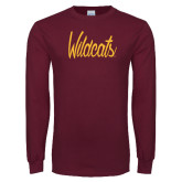 Maroon Long Sleeve T Shirt-Wildcats Script