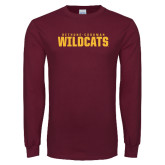 Maroon Long Sleeve T Shirt-Bethune Cookman Wildcats Stacked