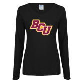 Ladies Black Long Sleeve V Neck T Shirt-BCU