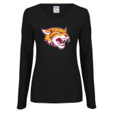 Ladies Black Long Sleeve V Neck T Shirt-Wildcat Head