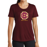Ladies Performance Maroon Tee-Softball