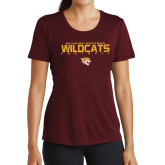 Ladies Performance Maroon Tee-Football Yards Design