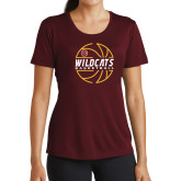 Ladies Performance Maroon Tee-Basketball In Ball Design