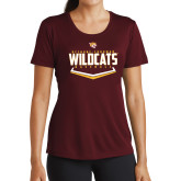 Ladies Performance Maroon Tee-Baseball Abstract Plate Design