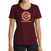 Ladies Performance Maroon Tee-Grandma