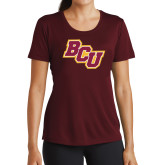 Ladies Performance Maroon Tee-BCU