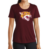 Ladies Performance Maroon Tee-Wildcat Head