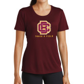 Ladies Performance Maroon Tee-Track and Field