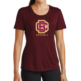 Ladies Performance Maroon Tee-Baseball