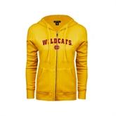 ENZA Ladies Gold Fleece Full Zip Hoodie-Wildcats w/BC