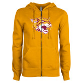 ENZA Ladies Gold Fleece Full Zip Hoodie-Wildcat Head