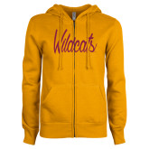 ENZA Ladies Gold Fleece Full Zip Hoodie-Wildcats Script