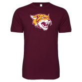 Next Level SoftStyle Maroon T Shirt-Wildcat Head