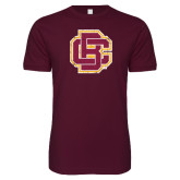 Next Level SoftStyle Maroon T Shirt-Primary Mark Distressed