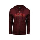 ENZA Ladies Maroon Fleece Full Zip Hoodie-Bethune-Cookman University