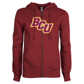 ENZA Ladies Maroon Fleece Full Zip Hoodie-BCU
