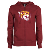 ENZA Ladies Maroon Fleece Full Zip Hoodie-Wildcat Head
