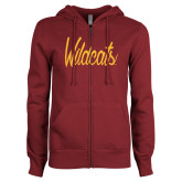 ENZA Ladies Maroon Fleece Full Zip Hoodie-Wildcats Script
