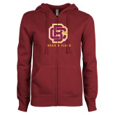ENZA Ladies Maroon Fleece Full Zip Hoodie-Track and Field