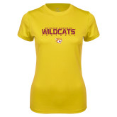 Ladies Syntrel Performance Gold Tee-Football Yards Design