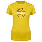 Ladies Syntrel Performance Gold Tee-Basketball In Ball Design