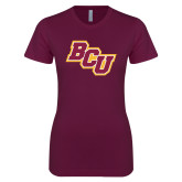 Next Level Ladies SoftStyle Junior Fitted Maroon Tee-BCU
