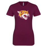 Next Level Ladies SoftStyle Junior Fitted Maroon Tee-Wildcat Head