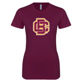 Next Level Ladies SoftStyle Junior Fitted Maroon Tee-Primary Mark Distressed
