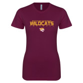Next Level Ladies SoftStyle Junior Fitted Maroon Tee-Football Yards Design