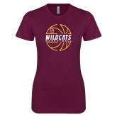 Next Level Ladies SoftStyle Junior Fitted Maroon Tee-Basketball In Ball Design