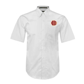 White Twill Button Down Short Sleeve-BC Logo