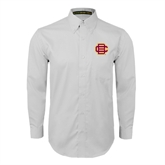 White Twill Button Down Long Sleeve-BC Logo