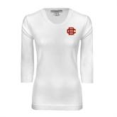 Ladies White 3/4 Sleeve Scoop Neck-BC Logo