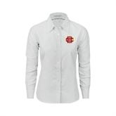 Ladies White Oxford Shirt-BC Logo