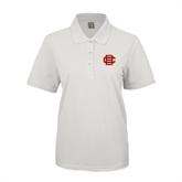 Ladies Easycare White Pique Polo-BC Logo