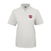 Ladies Easycare White Pique Polo-Wildcat Head