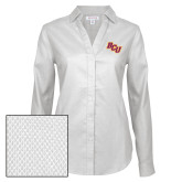 Ladies Red House Diamond Dobby White Long Sleeve Shirt-BCU