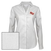 Ladies Red House Diamond Dobby White Long Sleeve Shirt-BCU