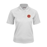 Ladies White Textured Saddle Shoulder Polo-BC Logo