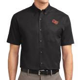 Black Twill Button Down Short Sleeve-BCU
