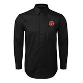Black Twill Button Down Long Sleeve-BC Logo
