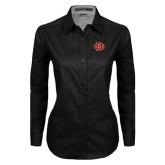 Ladies Black Twill Button Down Long Sleeve-BC Logo