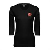 Ladies Black 3/4 Sleeve Scoop Neck-BC Logo