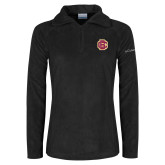 Columbia Ladies Half Zip Black Fleece Jacket-Primary Mark