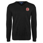 Classic Mens V Neck Black Sweater-Primary Mark