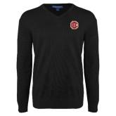 Classic Mens V Neck Black Sweater-Primary Mark