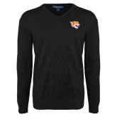 Classic Mens V Neck Black Sweater-Wildcat Head