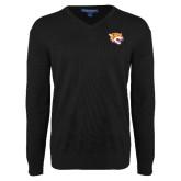 Classic Mens V Neck Black Sweater-Wildcat Head
