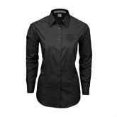 Ladies Black Tonal Pattern Long Sleeve Shirt-BC Logo
