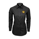 Ladies Black Tonal Pattern Long Sleeve Shirt-Wildcat Head